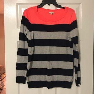 GAP sweater- navy gray stripes, neon pink top